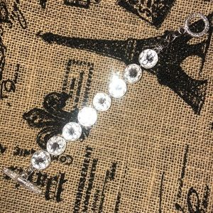 "Jewelry - Large Rhinestone Silver Bracelet 8"" long NEW"